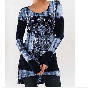 Tops - Women's Tunic Dress - Long Sleeves / Tie Dye Print